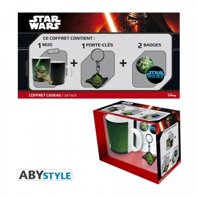 Gift Pack Mug + Porte-clef + badges Star Wars - Yoda *