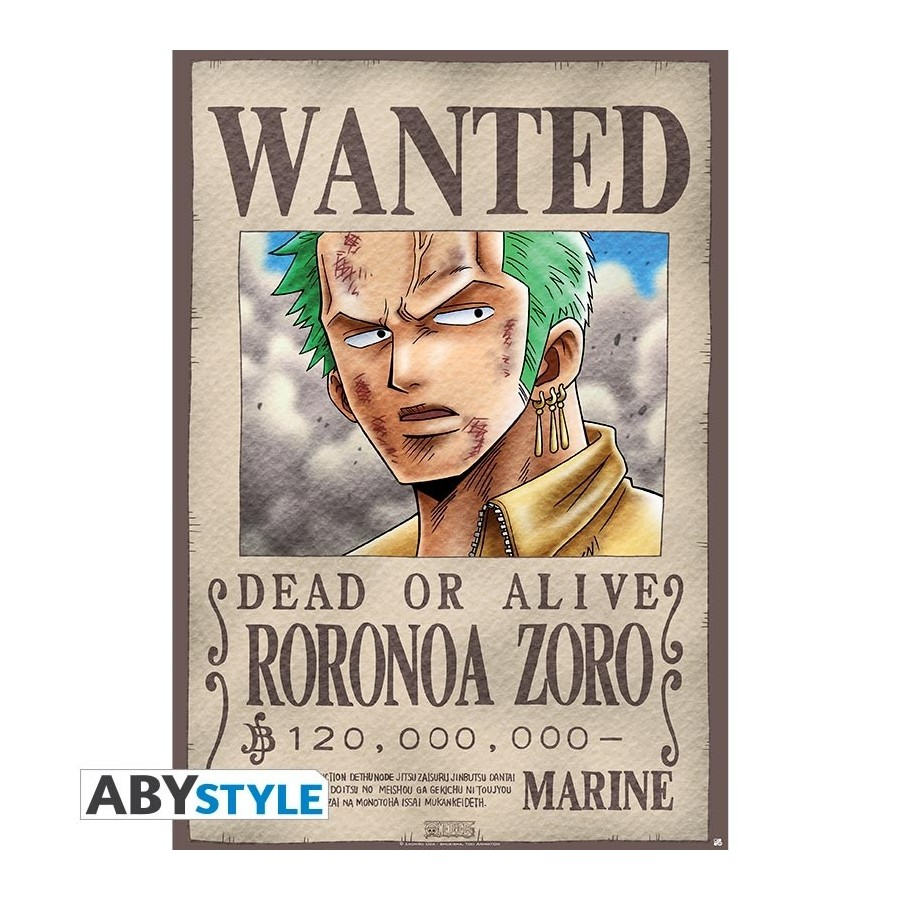 One Piece Poster Wanted Zoro Roule Filme 98x68 Genki