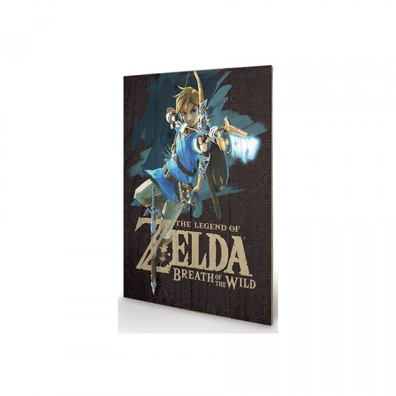 "Link ""Cover"" - Tableau Bois - Zelda Breath of the Wild - 40x60cm"