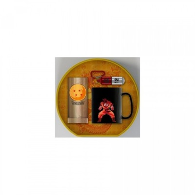 """Gift Pack Dragon Ball - Mug Thermique 460ml + Porte-clef exclusif + Verre """"Goku"""""""