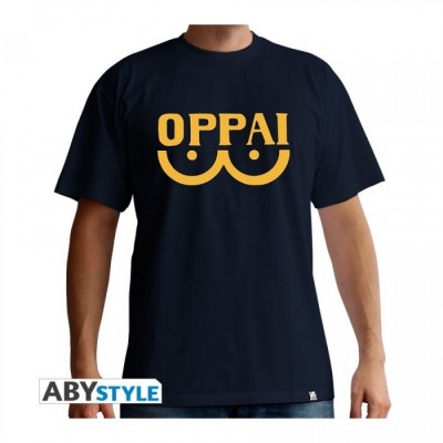 T-shirt One Punch Man - Oppai - Bleu Marine - M
