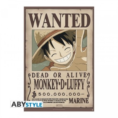 "ONE PIECE - Poster ""Wanted Luffy New 500.000.000"" roulé filmé (98x68)"