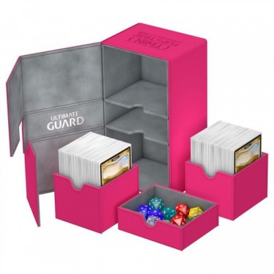 Ultimate Guard - Boîte pour cartes Twin Flip´n´Tray Deck Case 200+ taille standard XenoSkin Rose - 89 x 201 x 113 mm