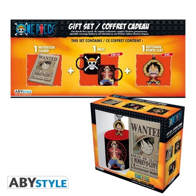 "Gift Pack One PIece - Mug 320ml + Porte-clés + Cahier ""Luffy"""