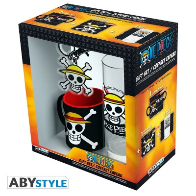 "Gift Pack One Piece - Verre 29cl + porte-clef + Mini Mug ""Skull Luffy"""