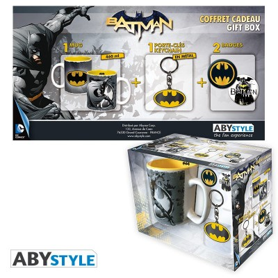 "Gift Pack Batman - Mug 460ml + Porte-clés + Badges ""Batman"""