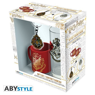 "Gift Pack Harry Potter - Verre 29cl + porte-clef + Mini Mug ""Poudlard"""