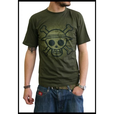 T-shirt One Piece - Skull with map Old - M (fond kaki)