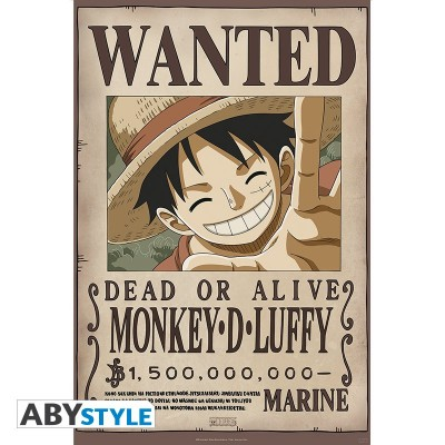 "ONE PIECE - Poster ""Wanted Luffy New 1.500.000.000"" roulé filmé (98x68)"