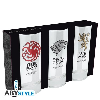 Set de 3 verre - Game of Thrones - Targaryen / Stark / Lanister - 290ml
