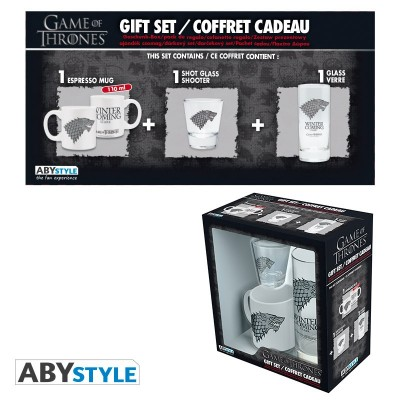 "Gift Pack Game of Thrones - Verre 29cl + Shooter + Mini Mug blanc ""Stark"""
