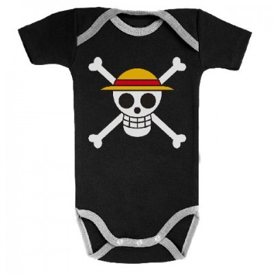 Body Bébé manches courtes - 3-6 mois - Drapeau de Luffy - One Piece
