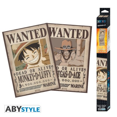 Set 2 Chibi Poster - One Piece - Wanted Luffy et Ace