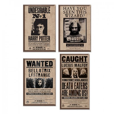 Pack de 4 Magnets - Harry Potter - Affiches Wanted
