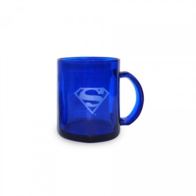 Mug transparent bleu - Superman - Logo