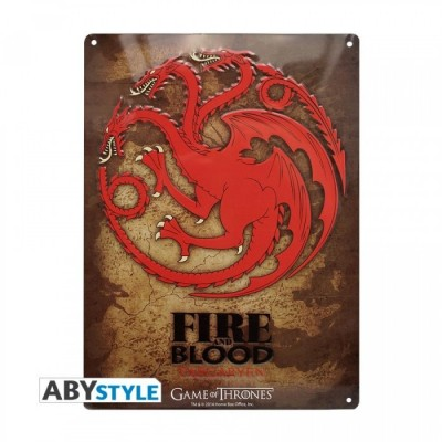 Plaque Métalique - Game of Thrones - Targaryen (28x38)