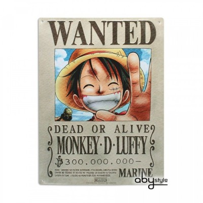Plaque Métalique - One Piece - Luffy Wanted (28x38)