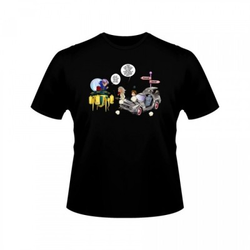 T-shirt - okiWoki - Accrochage dans les Couloirs du Temps ! - Dragon Ball / Retour vers le futur - Fond Noir - L